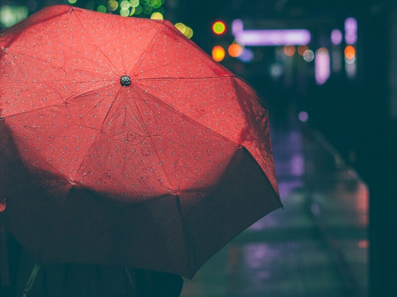 Red Umbrella wet in the rain, as a person walks through a city at night. Image for article International Whores Day. NZ Pleasures.