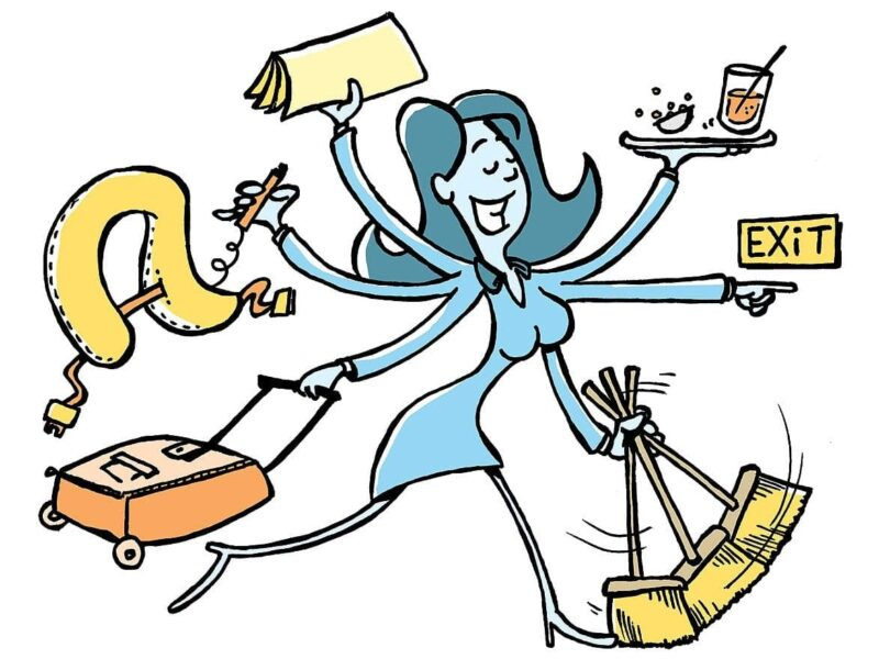 Cartoon image of a very busy woman multi-tasking from cleaning to shopping to working. Image for article What escort services do you offer? NZ Pleasures.
