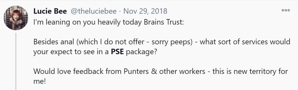 Lucie Bee asking in a twitter post what services would be included in a PSE booking.