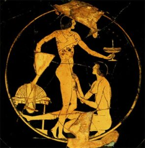 An image depicting a Greek scene and a person removing the pubic hair from another.