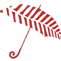 The New Zealand Prostitutes Red Umbrella, showing the New Zealand fern.